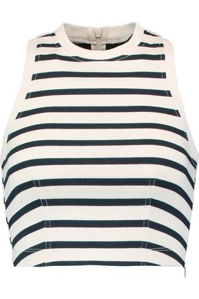 T by ALEXANDER WANG Cropped striped cotton top