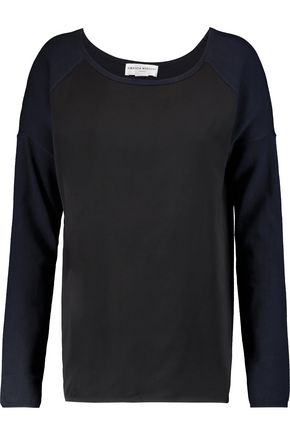 AMANDA WAKELEY Paneled cotton and cashmere-blend top