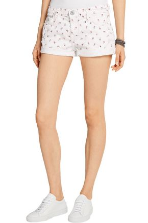CURRENT/ELLIOTT The Girlfriend printed stretch-denim shorts