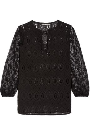 ALICE + OLIVIA Carroll lace and broderie anglaise cotton blouse