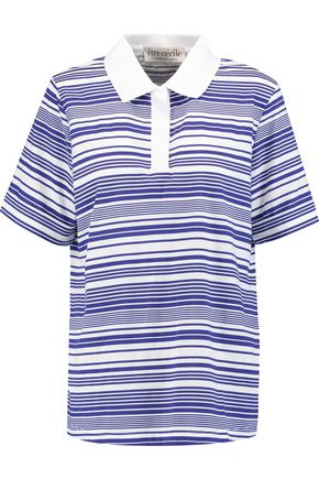 ÊTRE CÉCILE Striped cotton-jersey polo top