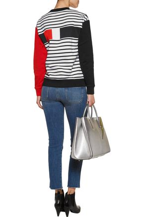 ÊTRE CÉCILE Striped printed cotton-jersey sweatshirt