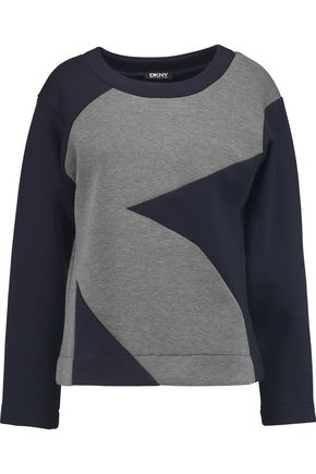 DKNY Two-tone stretch-knit sweatshirt