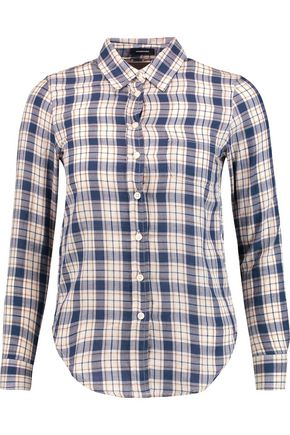 R13 Baby checked cotton and wool-blend shirt