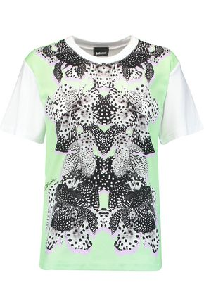 JUST CAVALLI Printed crepe de chine and jersey T-shirt