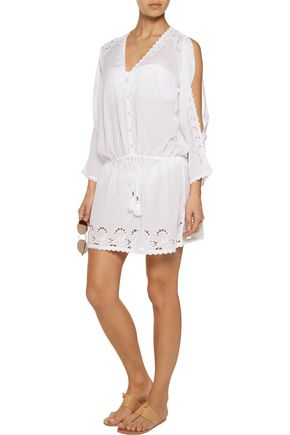 MELISSA ODABASH Tamara broderie anglaise-trimmed broadcloth coverup
