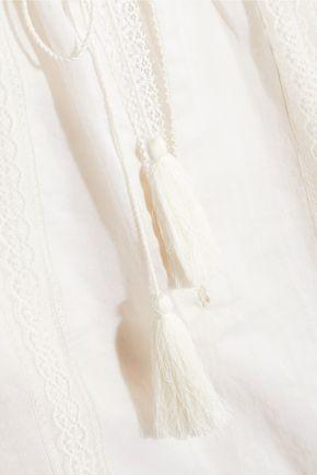 TALITHA Lace-trimmed cotton-voile blouse