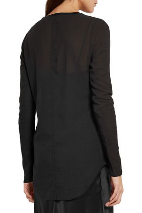 RAG & BONE Marisol silk-trimmed ribbed-knit and voile top