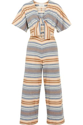 SOLID & STRIPED Tie-front cutout striped basketweave cotton jumpsuit