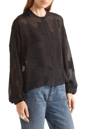 ELIZABETH AND JAMES Frankie fil coupé silk-chiffon blouse