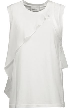 3.1 PHILLIP LIM Cutout silk-chiffon trimmed cotton-jersey tank