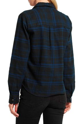 EQUIPMENT + Kate Moss London checked brushed-cotton shirt