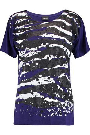 JUST CAVALLI Glittered printed stretch-jersey T-shirt