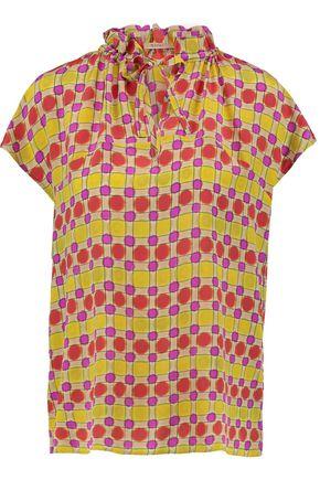 ETRO Ruffle-trimmed printed silk top