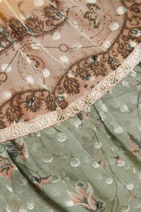 ETRO Ava tiered printed silk-chiffon halterneck top