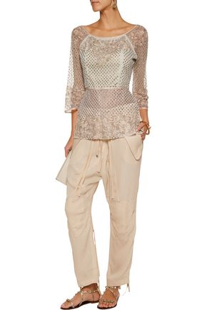 ETRO Alina embroidered embellished tulle top