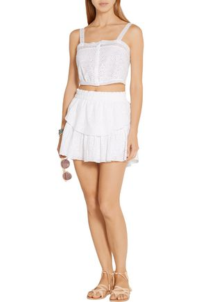 LOVESHACKFANCY Broderie anglaise cotton skirt