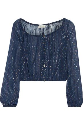 LOVESHACKFANCY Cropped metallic printed silk-blend top