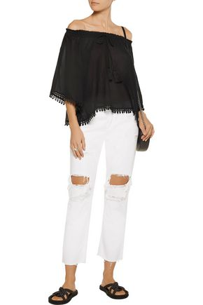 LOVESHACKFANCY Gypsy off-the-shoulder lace-trimmed cotton-guaze top