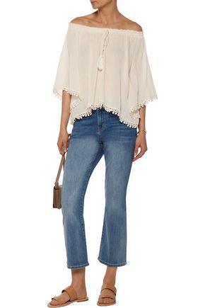 LOVESHACKFANCY Gypsy off-the-shoulder lace-trimmed cotton-guaze top