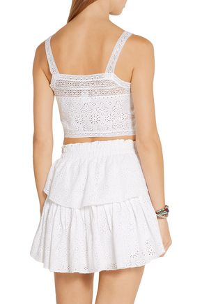 LOVESHACKFANCY Ray cropped broderie anglaise cotton top