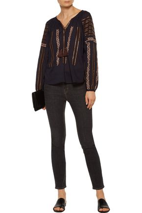 LOVESHACKFANCY Lou embroidered sequin-embellished cotton-voile blouse