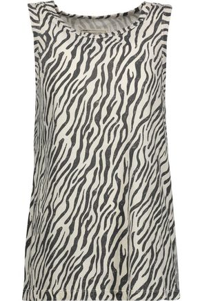 CURRENT/ELLIOTT The Muscle distressed zebra-print cotton-jersey tank