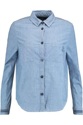 7 FOR ALL MANKIND Uniform embroidered cotton-blend chambray shirt