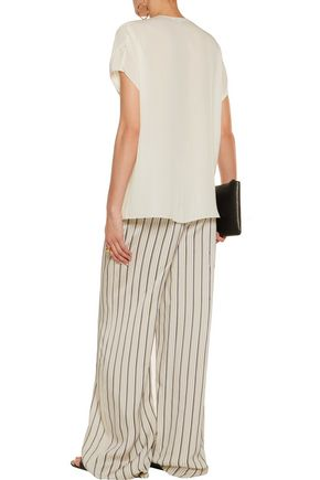 VINCE. Pintucked silk-crepe top