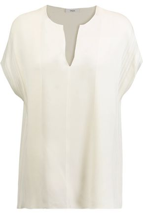VINCE. Pintucked silk top