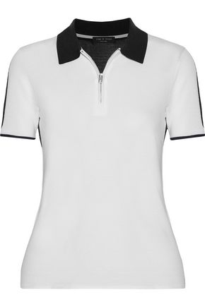 RAG & BONE Alice two-tone knitted polo shirt