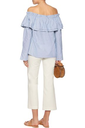 W118 by WALTER BAKER Jerry off-the-shoulder ruffled striped cotton-poplin top