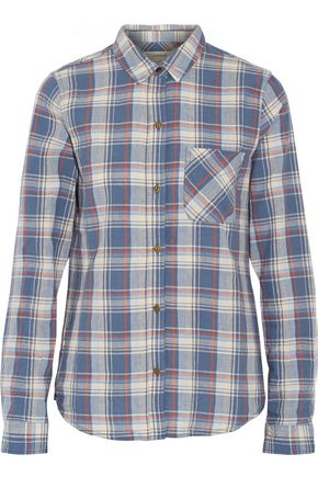 CURRENT/ELLIOTT The Slim Boy checked cotton and linen-blend shirt