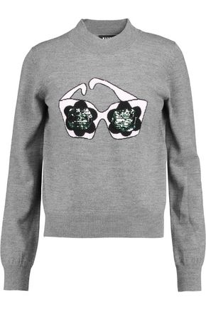 MARKUS LUPFER Daisy Sunglasses sequined intarsia-knit merino wool sweater