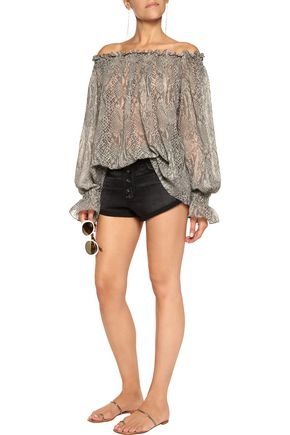 NORMA KAMALI Off-the-shoulder snake-print chiffon top