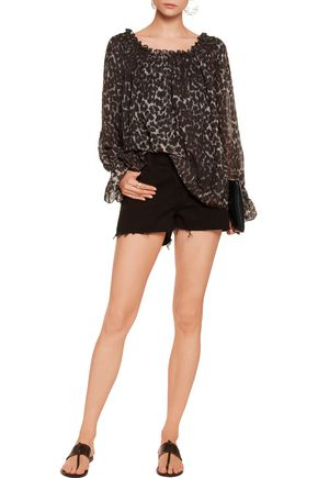 NORMA KAMALI Off-the-shoulder leopard-print chiffon top