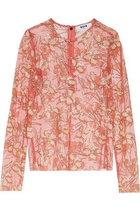 MSGM Glittered tulle blouse
