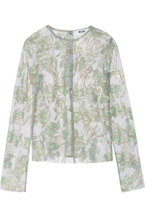 MSGM Glittered tulle blouse