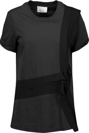 3.1 PHILLIP LIM Silk-paneled stretch-cotton T-shirt