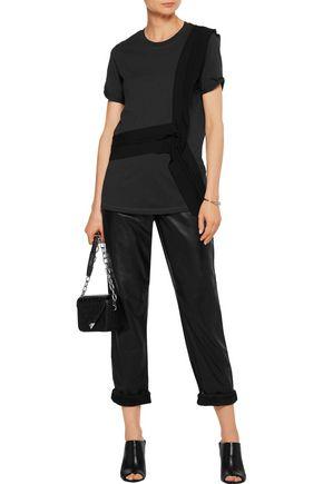 3.1 PHILLIP LIM Silk-paneled stretch-cotton T-shirt