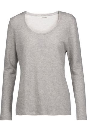 MAJESTIC Marled stretch-cotton and cashmere-blend top