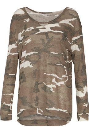 MAJESTIC Printed stretch-jersey top