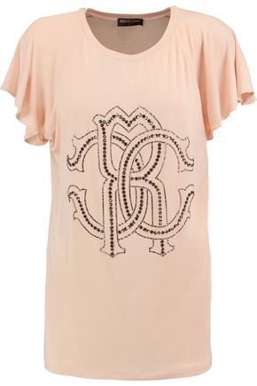 ROBERTO CAVALLI GYM Embellished stretch-modal T-shirt