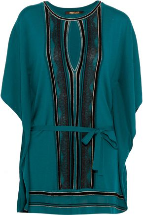 ROBERTO CAVALLI Belted paneled stretch-knit top