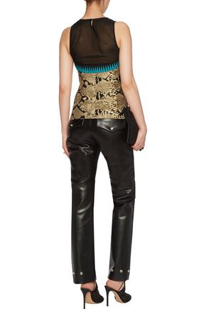 ROBERTO CAVALLI Pointelle-knit and chiffon top