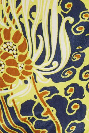 ROBERTO CAVALLI Lace-trimmed printed silk crepe de chine T-shirt