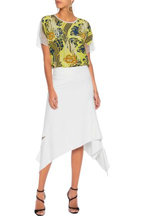 ROBERTO CAVALLI Lace-trimmed printed silk crepe de chine T-shirt