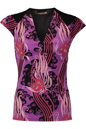 ROBERTO CAVALLI Printed stretch-crepe top