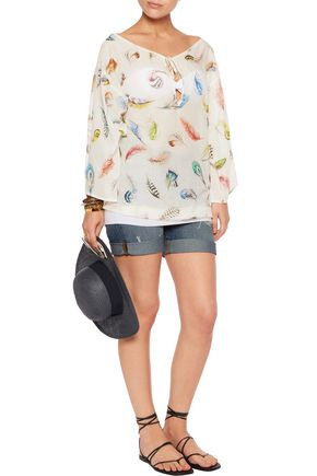 ROBERTO CAVALLI Printed cotton and silk-blend voile top