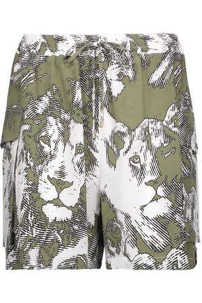 ROBERTO CAVALLI Printed washed-silk shorts